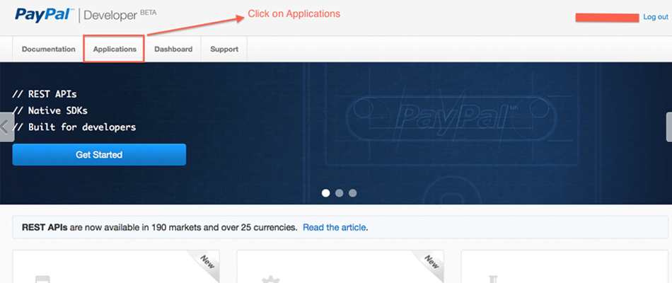 Select Application Section on Paypal