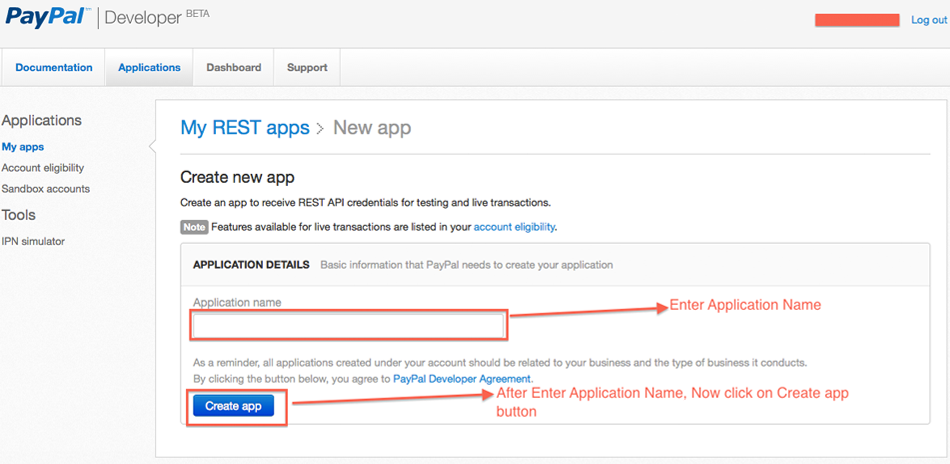 Create Your Application to receive REST API credentials
